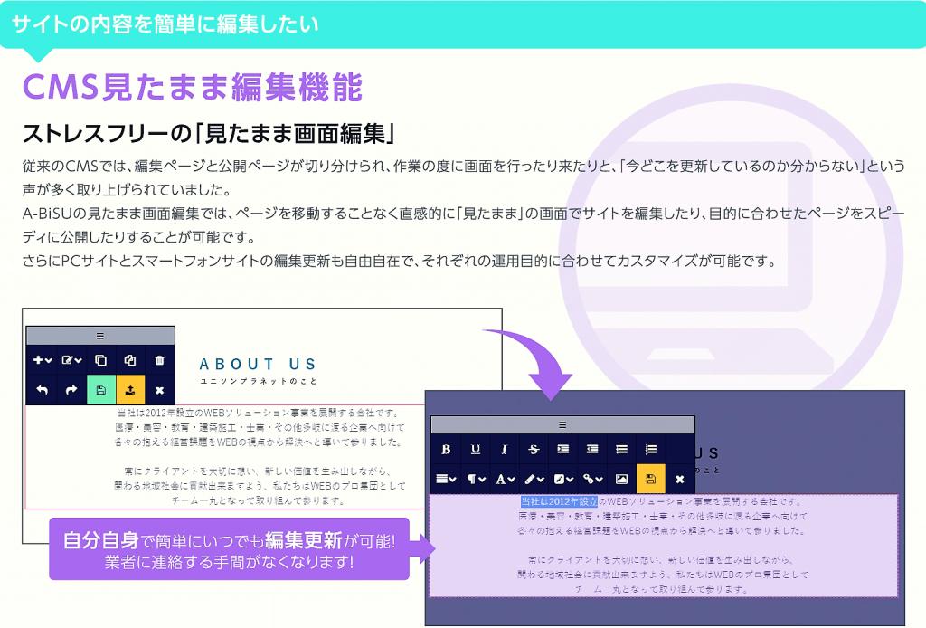 サイトの内容を簡単に編集したい→CMS見たまま編集機能 ストレスフリーの「見たまま画面編集」 従来のCMSでは、編集ページと公開ページが切り分けられ、作業の度に画面を行ったり来たりと、「今どこを更新しているのか分からない」という声が多く取り上げられました。A-BiSUの見たまま画面編集では、ページを移動することなく直感的に「見たまま」の画面でサイトを編集したり、目的に合わせたページをスピーディに公開したりすることが可能です。さらにPCサイトとスマートフォンサイトの編集更新も自由自在で、それぞれの運用目的に合わせてカスタマイズが可能です。|自分自身で簡単にいつでも編集更新が可能 業者に連絡する手間がなくなります!
