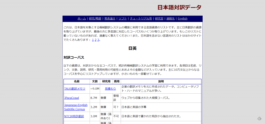 ・日本語対訳データ