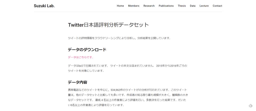 Twitter日本語評判分析データセット